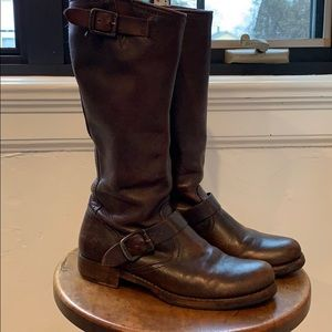 Frye Veronica Slouch boot patina brown leather 8.5
